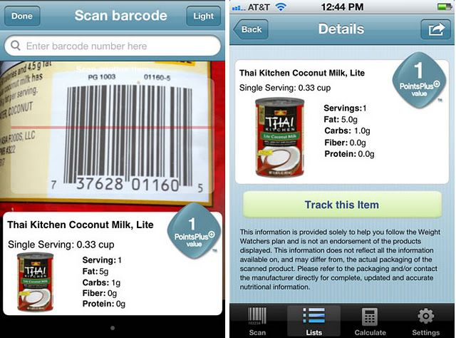 Weight Watchers Barcode Scanner app on Android