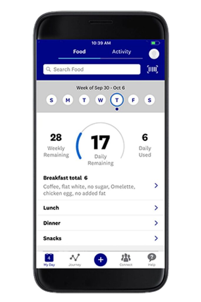 Weight Watchers Barcode Scanner app for scanning serving