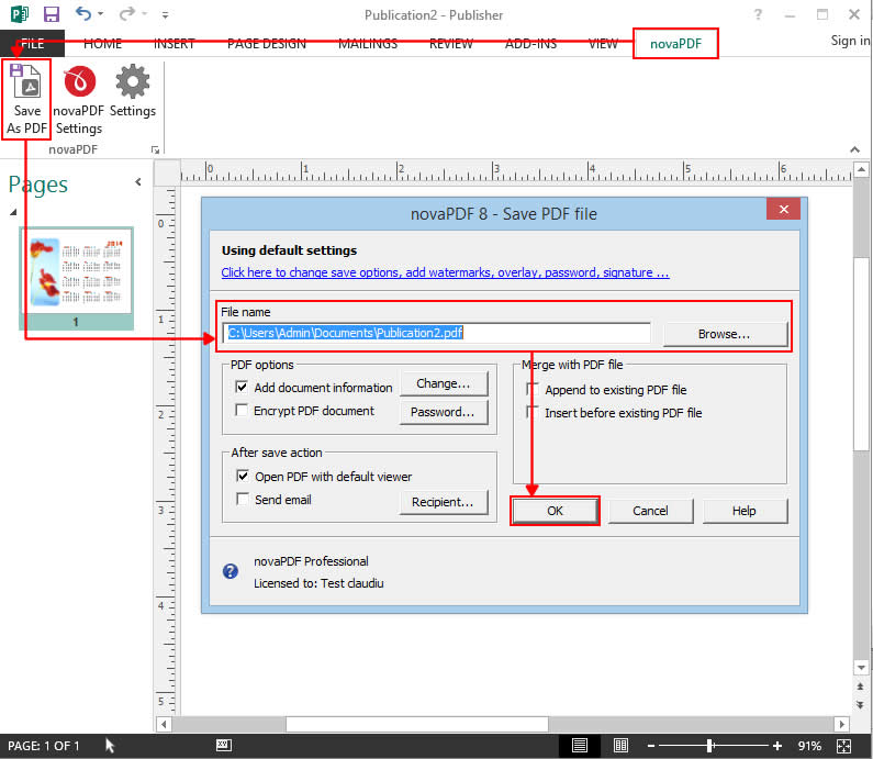 Convert to PDF format in Microsoft Publisher
