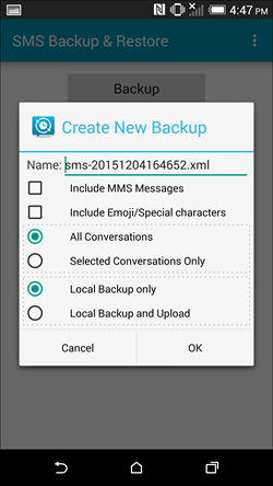 backup and restore sms on android