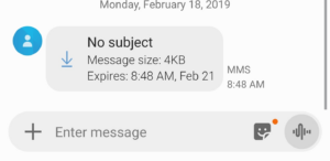 text message subject line Android