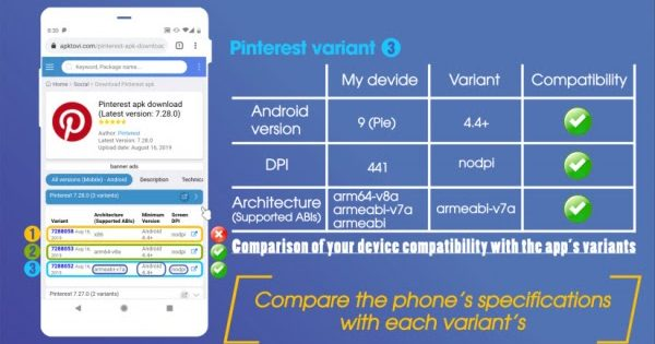 how to find a proper variant for APK download